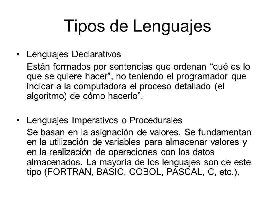Tipos de Lenguajes Lenguajes Declarativos Están formados por sentencias que ordenan qué es lo que se quiere hacer, no teniendo el programador que indi