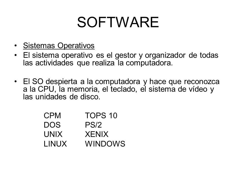 SOFTWARE Sistemas Operativos El sistema operativo es el gestor y organizador de todas las actividades que realiza la computadora. El SO despierta a la