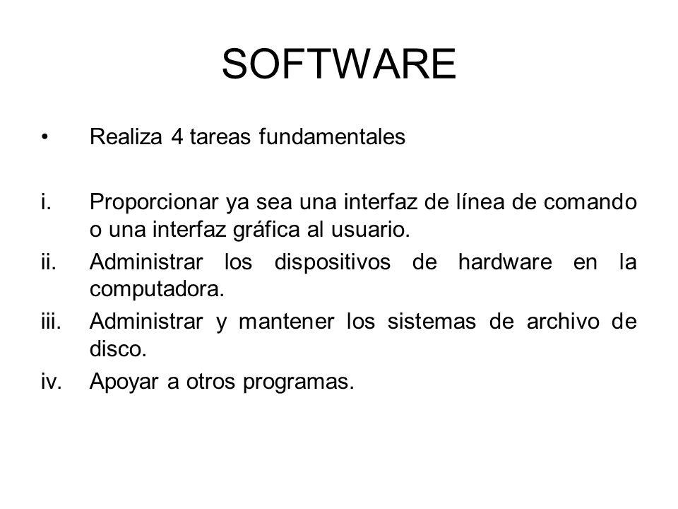 SOFTWARE Realiza 4 tareas fundamentales i.Proporcionar ya sea una interfaz de línea de comando o una interfaz gráfica al usuario. ii.Administrar los d