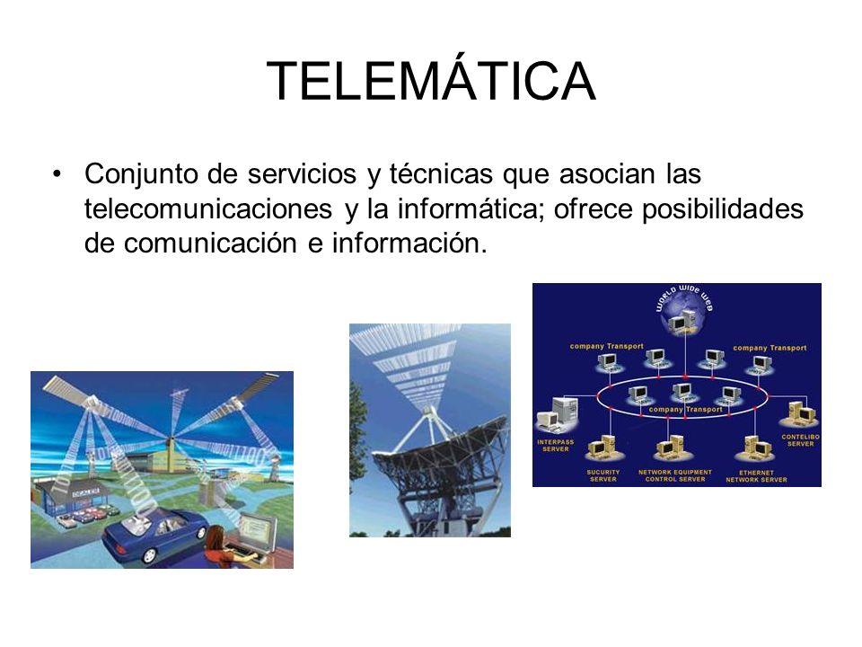 TELEMÁTICA Conjunto de servicios y técnicas que asocian las telecomunicaciones y la informática; ofrece posibilidades de comunicación e información.