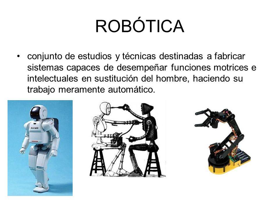 ROBÓTICA conjunto de estudios y técnicas destinadas a fabricar sistemas capaces de desempeñar funciones motrices e intelectuales en sustitución del ho