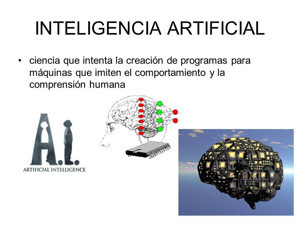 INTELIGENCIA ARTIFICIAL ciencia que intenta la creación de programas para máquinas que imiten el comportamiento y la comprensión humana