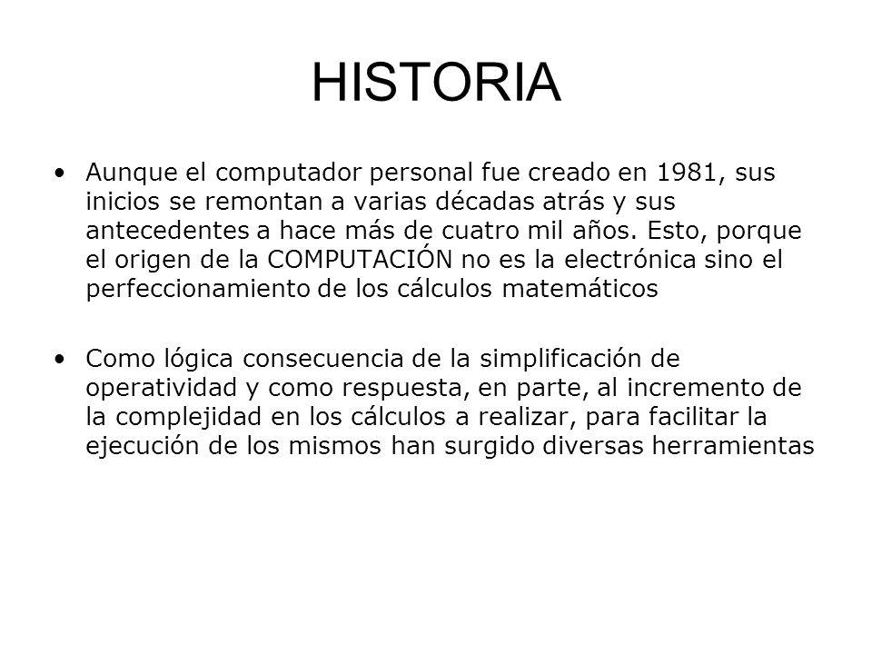 HISTORIA Aunque el computador personal fue creado en 1981, sus inicios se remontan a varias décadas atrás y sus antecedentes a hace más de cuatro mil
