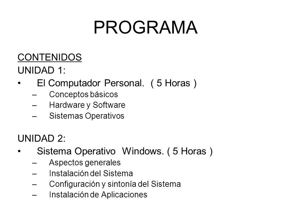PROGRAMA CONTENIDOS UNIDAD 1: El Computador Personal. ( 5 Horas ) –Conceptos básicos –Hardware y Software –Sistemas Operativos UNIDAD 2: Sistema Opera
