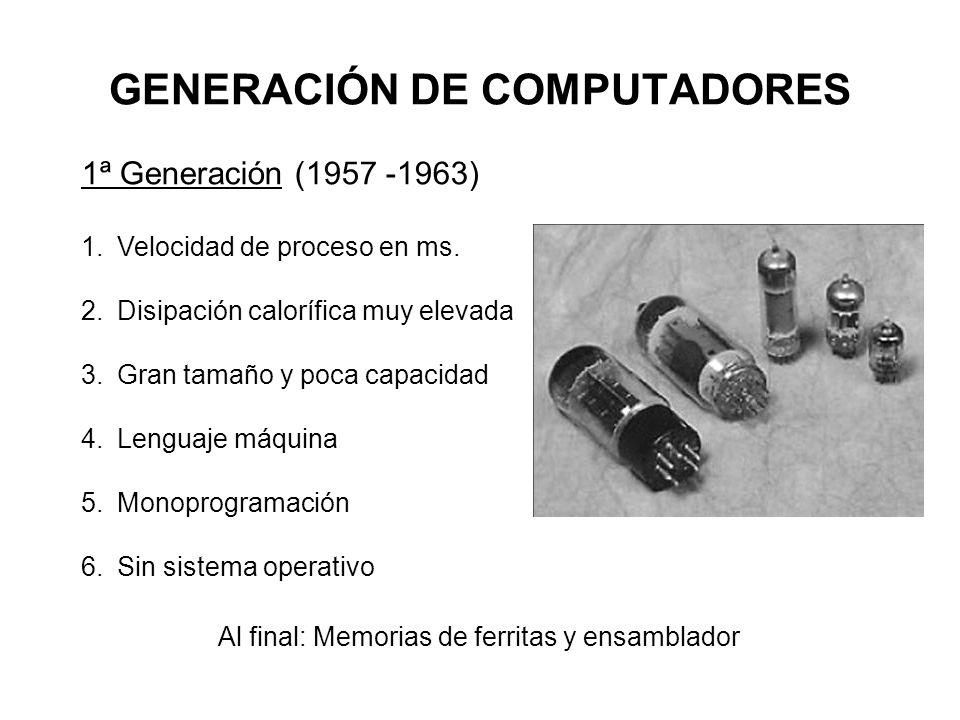 GENERACIÓN DE COMPUTADORES 1ª Generación (1957 -1963) 1.Velocidad de proceso en ms. 2.Disipación calorífica muy elevada 3.Gran tamaño y poca capacidad