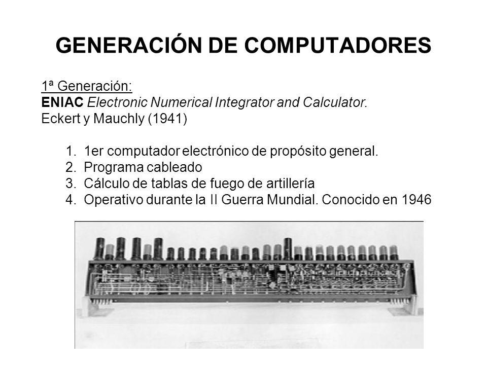 GENERACIÓN DE COMPUTADORES 1ª Generación: ENIAC Electronic Numerical Integrator and Calculator. Eckert y Mauchly (1941) 1.1er computador electrónico d