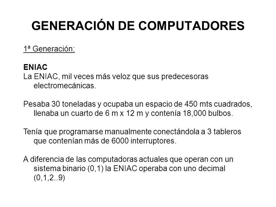 GENERACIÓN DE COMPUTADORES 1ª Generación: ENIAC La ENIAC, mil veces más veloz que sus predecesoras electromecánicas. Pesaba 30 toneladas y ocupaba un