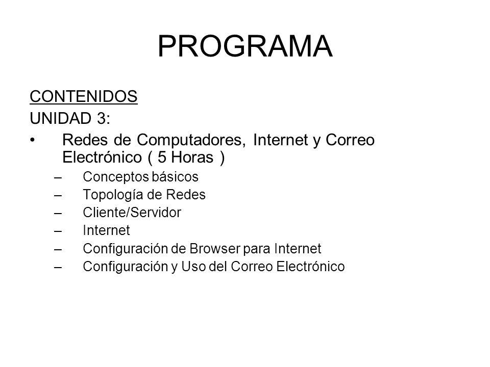 PROGRAMA CONTENIDOS UNIDAD 3: Redes de Computadores, Internet y Correo Electrónico ( 5 Horas ) –Conceptos básicos –Topología de Redes –Cliente/Servido