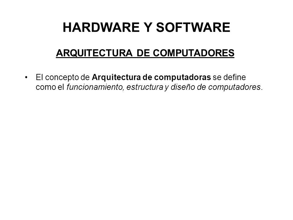 HARDWARE Y SOFTWARE ARQUITECTURA DE COMPUTADORES El concepto de Arquitectura de computadoras se define como el funcionamiento, estructura y diseño de