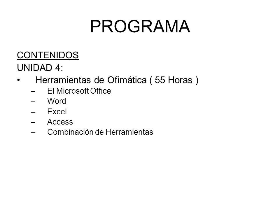 PROGRAMA CONTENIDOS UNIDAD 4: Herramientas de Ofimática ( 55 Horas ) –El Microsoft Office –Word –Excel –Access –Combinación de Herramientas