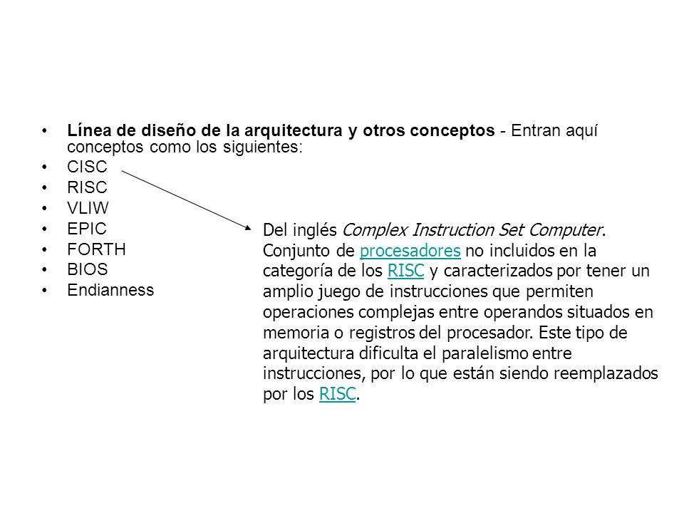 Línea de diseño de la arquitectura y otros conceptos - Entran aquí conceptos como los siguientes: CISC RISC VLIW EPIC FORTH BIOS Endianness Del inglés