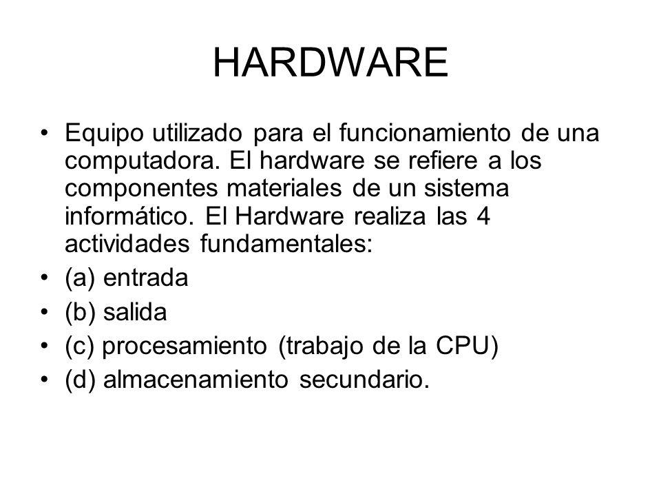 HARDWARE Equipo utilizado para el funcionamiento de una computadora. El hardware se refiere a los componentes materiales de un sistema informático. El