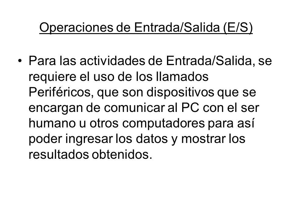 Operaciones de Entrada/Salida (E/S) Para las actividades de Entrada/Salida, se requiere el uso de los llamados Periféricos, que son dispositivos que s