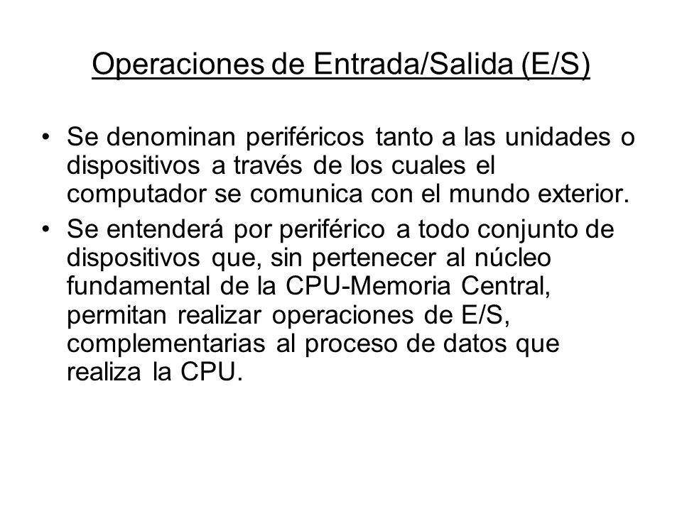 Operaciones de Entrada/Salida (E/S) Se denominan periféricos tanto a las unidades o dispositivos a través de los cuales el computador se comunica con
