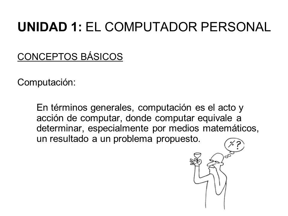 UNIDAD 1: EL COMPUTADOR PERSONAL CONCEPTOS BÁSICOS Computación: En términos generales, computación es el acto y acción de computar, donde computar equ