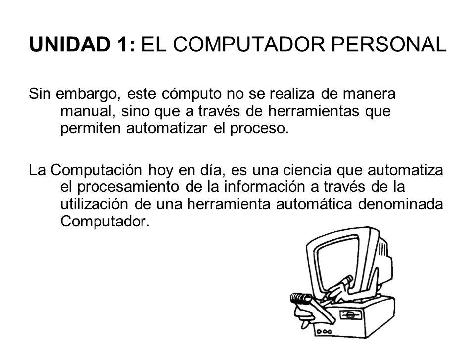 UNIDAD 1: EL COMPUTADOR PERSONAL Sin embargo, este cómputo no se realiza de manera manual, sino que a través de herramientas que permiten automatizar