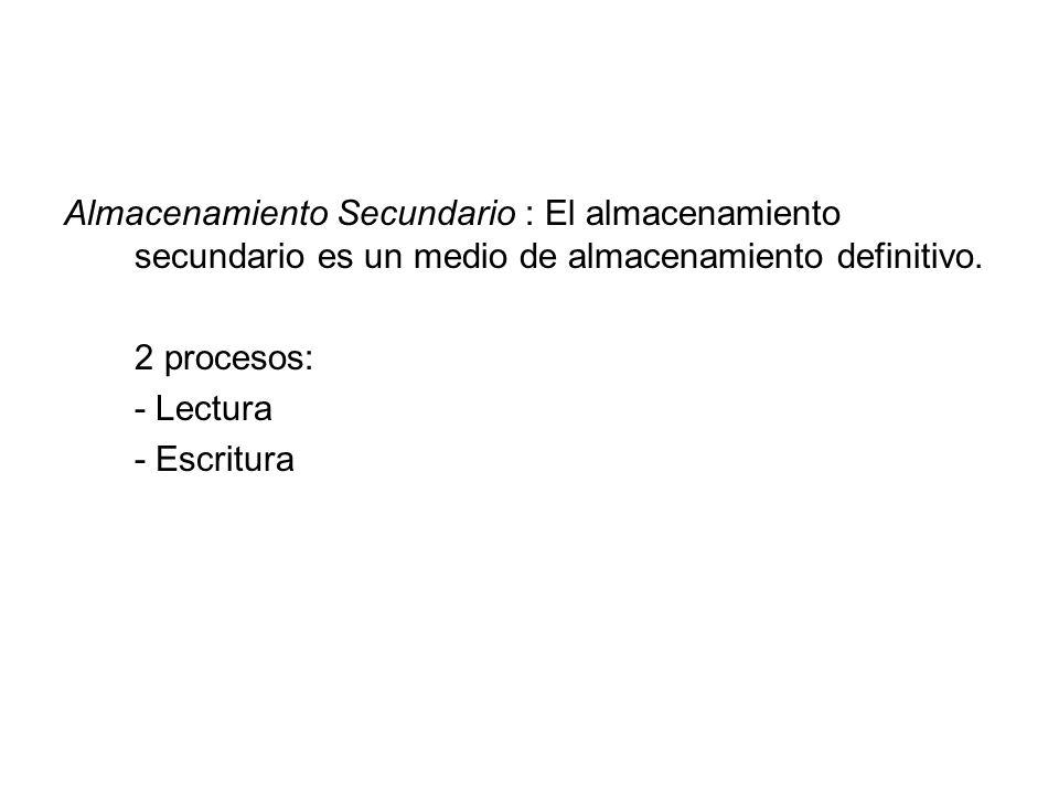 Almacenamiento Secundario : El almacenamiento secundario es un medio de almacenamiento definitivo. 2 procesos: - Lectura - Escritura