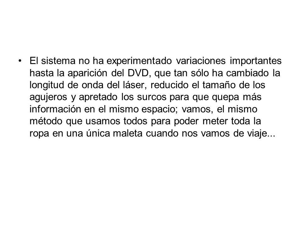 El sistema no ha experimentado variaciones importantes hasta la aparición del DVD, que tan sólo ha cambiado la longitud de onda del láser, reducido el