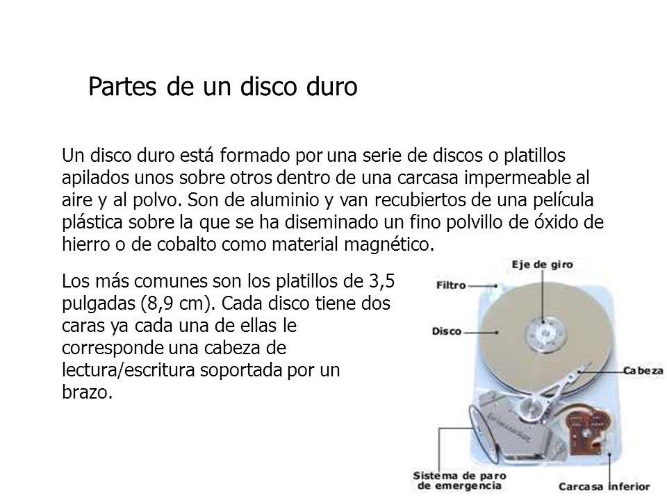 Un disco duro está formado por una serie de discos o platillos apilados unos sobre otros dentro de una carcasa impermeable al aire y al polvo. Son de