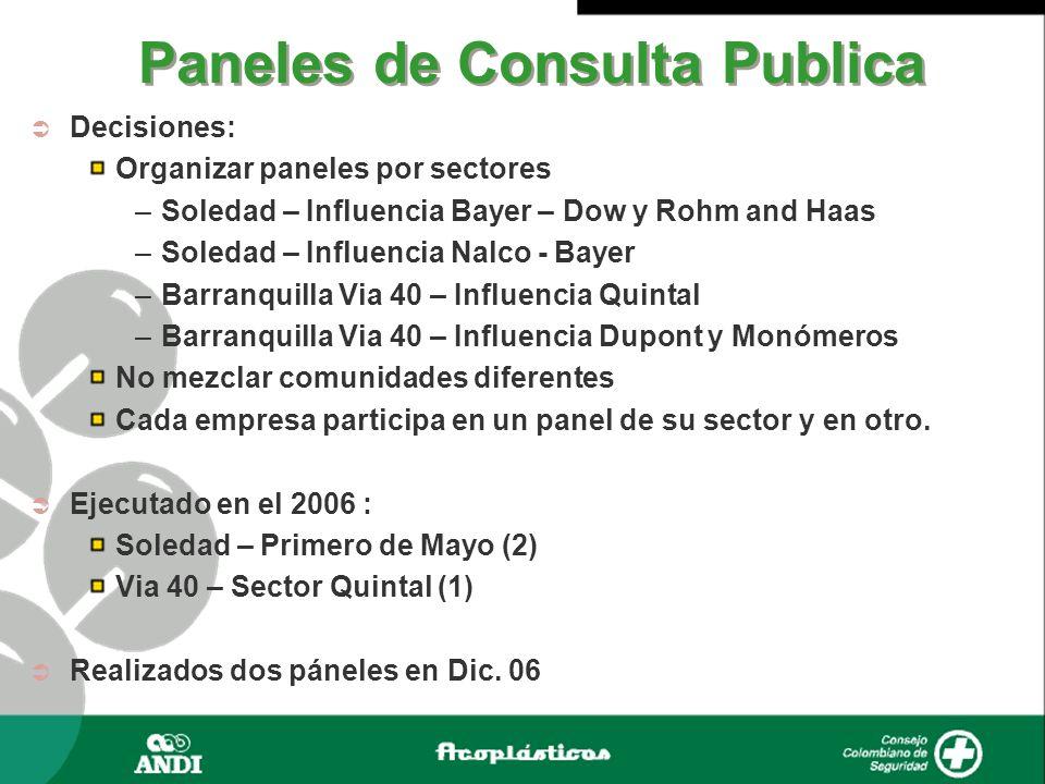 Paneles de Consulta Publica Decisiones: Organizar paneles por sectores –Soledad – Influencia Bayer – Dow y Rohm and Haas –Soledad – Influencia Nalco -