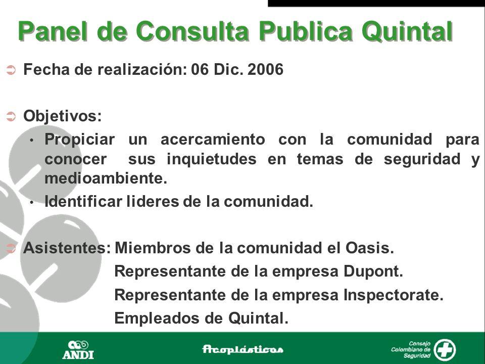 Panel de Consulta Publica Quintal Fecha de realización: 06 Dic. 2006 Objetivos: Propiciar un acercamiento con la comunidad para conocer sus inquietude