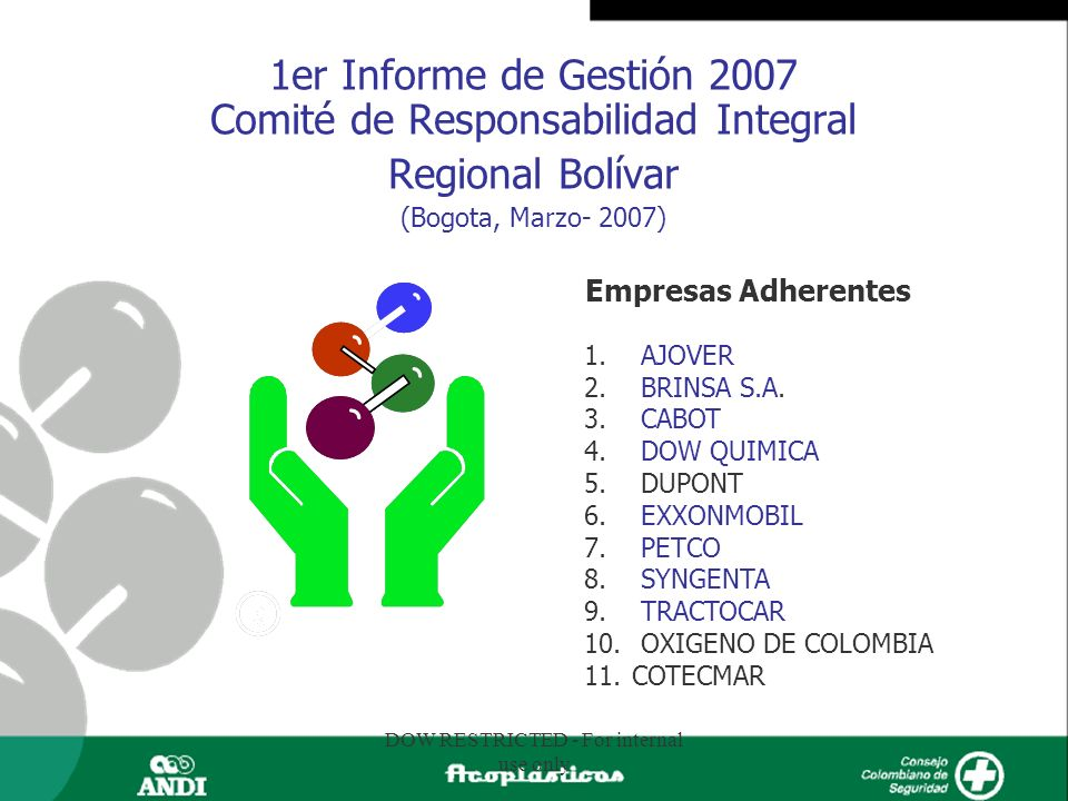 DOW RESTRICTED - For internal use only 1er Informe de Gestión 2007 Comité de Responsabilidad Integral Regional Bolívar (Bogota, Marzo- 2007) Empresas