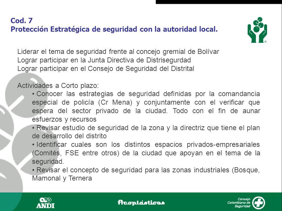Cod. 7 Protección Estratégica de seguridad con la autoridad local. Liderar el tema de seguridad frente al concejo gremial de Bolívar Lograr participar