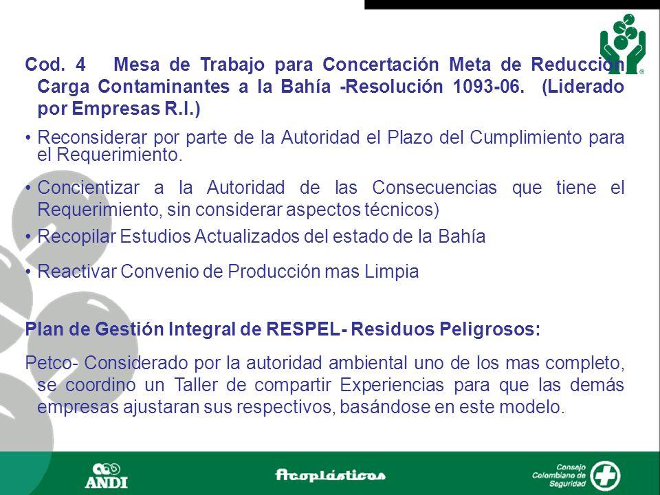 Cod. 4 Mesa de Trabajo para Concertación Meta de Reducción Carga Contaminantes a la Bahía -Resolución 1093-06. (Liderado por Empresas R.I.) Reconsider