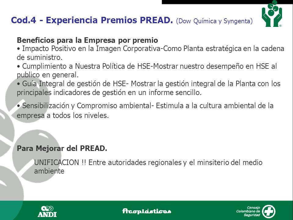 Cod.4 - Experiencia Premios PREAD. (Dow Química y Syngenta) Beneficios para la Empresa por premio Impacto Positivo en la Imagen Corporativa-Como Plant