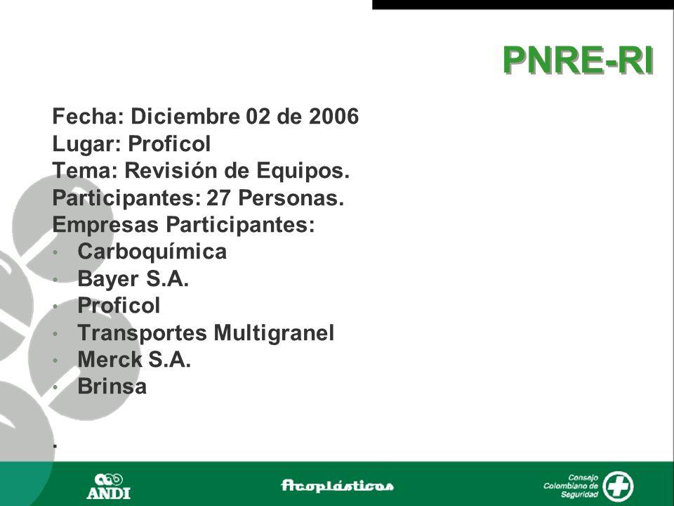 Fecha: Diciembre 02 de 2006 Lugar: Proficol Tema: Revisión de Equipos. Participantes: 27 Personas. Empresas Participantes: Carboquímica Bayer S.A. Pro