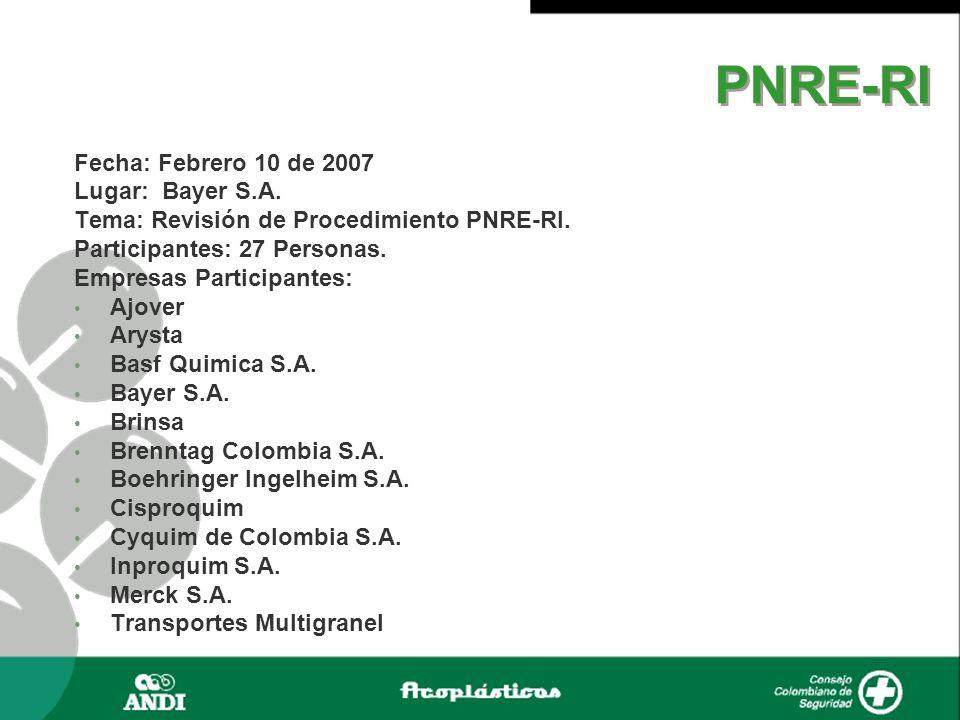 Fecha: Febrero 10 de 2007 Lugar: Bayer S.A. Tema: Revisión de Procedimiento PNRE-RI. Participantes: 27 Personas. Empresas Participantes: Ajover Arysta