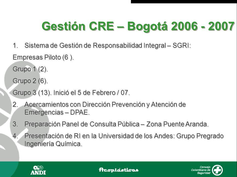 Gestión CRE – Bogotá 2006 - 2007 1.Sistema de Gestión de Responsabilidad Integral – SGRI: Empresas Piloto (6 ). Grupo 1 (2). Grupo 2 (6). Grupo 3 (13)