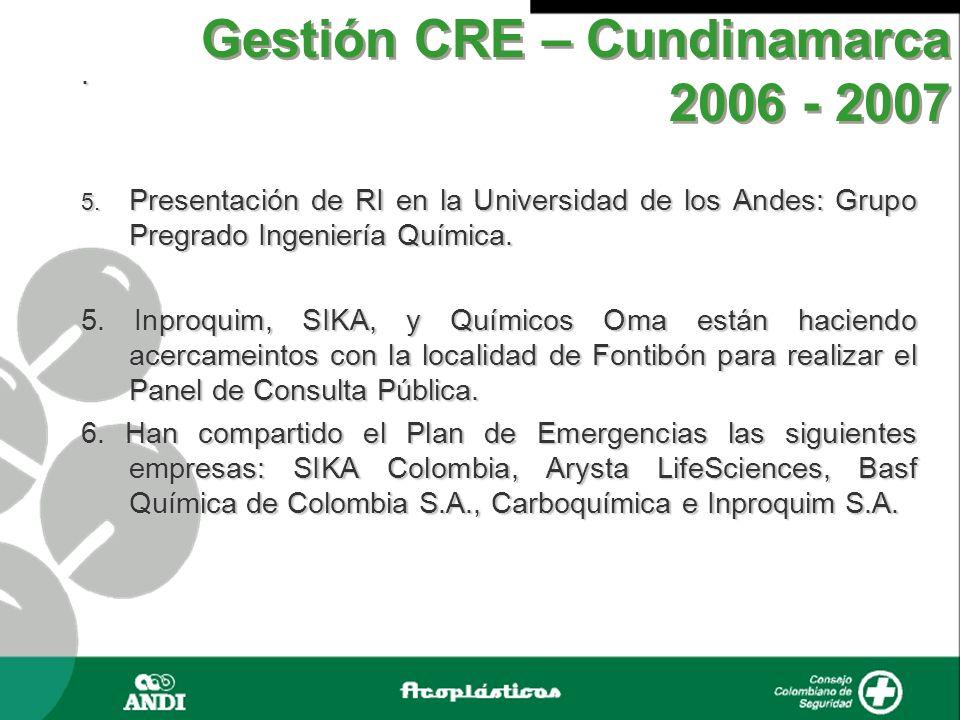 . 5. Presentación de RI en la Universidad de los Andes: Grupo Pregrado Ingeniería Química. 5. Inproquim, SIKA, y Químicos Oma están haciendo acercamei
