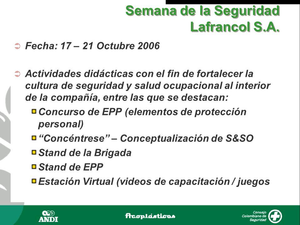 Semana de la Seguridad Lafrancol S.A. Fecha: 17 – 21 Octubre 2006 Actividades didácticas con el fin de fortalecer la cultura de seguridad y salud ocup