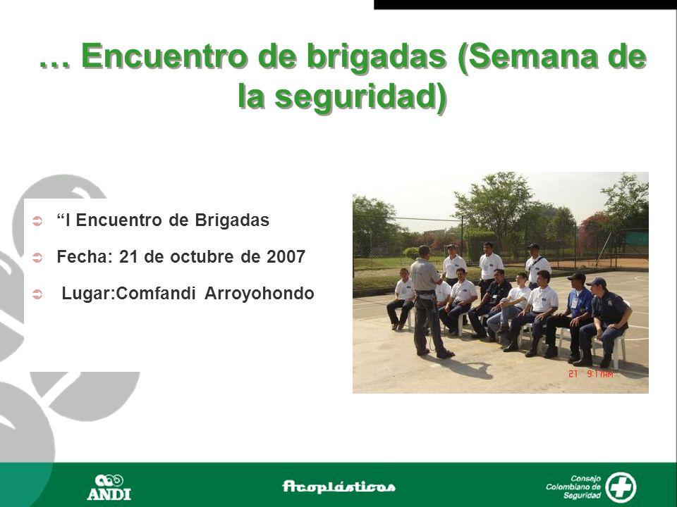 … Encuentro de brigadas (Semana de la seguridad) I Encuentro de Brigadas Fecha: 21 de octubre de 2007 Lugar:Comfandi Arroyohondo