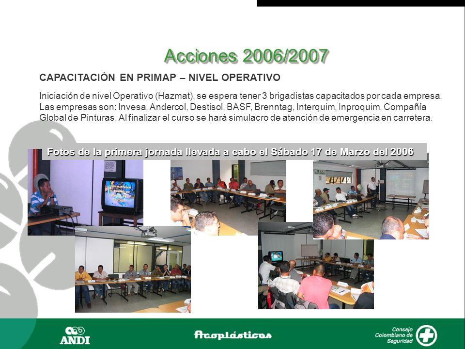 Acciones 2006/2007 CAPACITACIÓN EN PRIMAP – NIVEL OPERATIVO Iniciación de nivel Operativo (Hazmat), se espera tener 3 brigadistas capacitados por cada