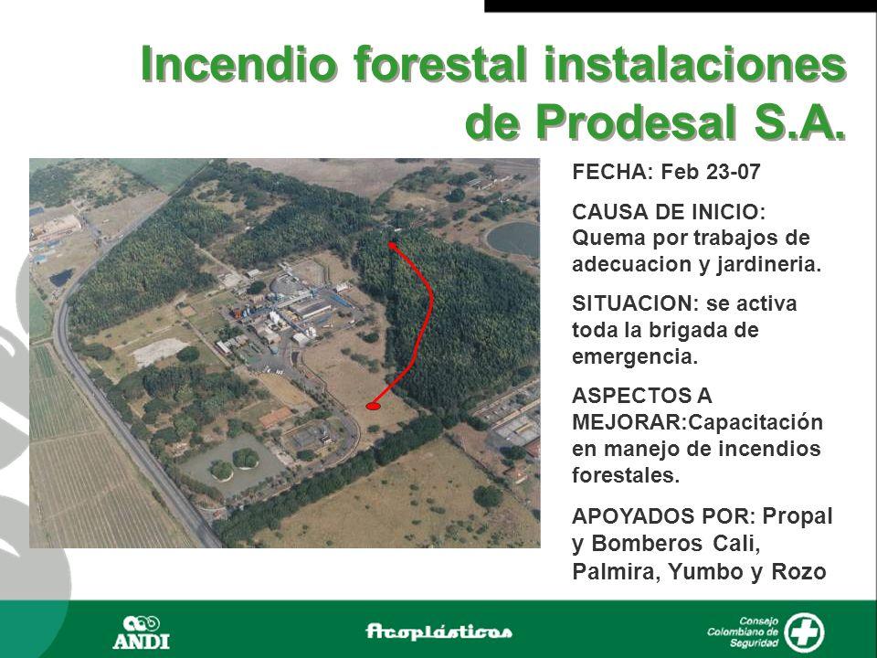 Incendio forestal instalaciones de Prodesal S.A. FECHA: Feb 23-07 CAUSA DE INICIO: Quema por trabajos de adecuacion y jardineria. SITUACION: se activa