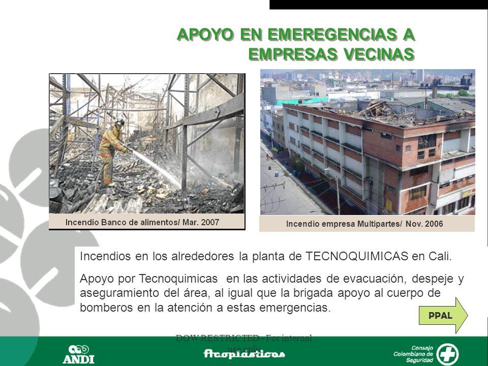 DOW RESTRICTED - For internal use only Incendios en los alrededores la planta de TECNOQUIMICAS en Cali. Apoyo por Tecnoquimicas en las actividades de