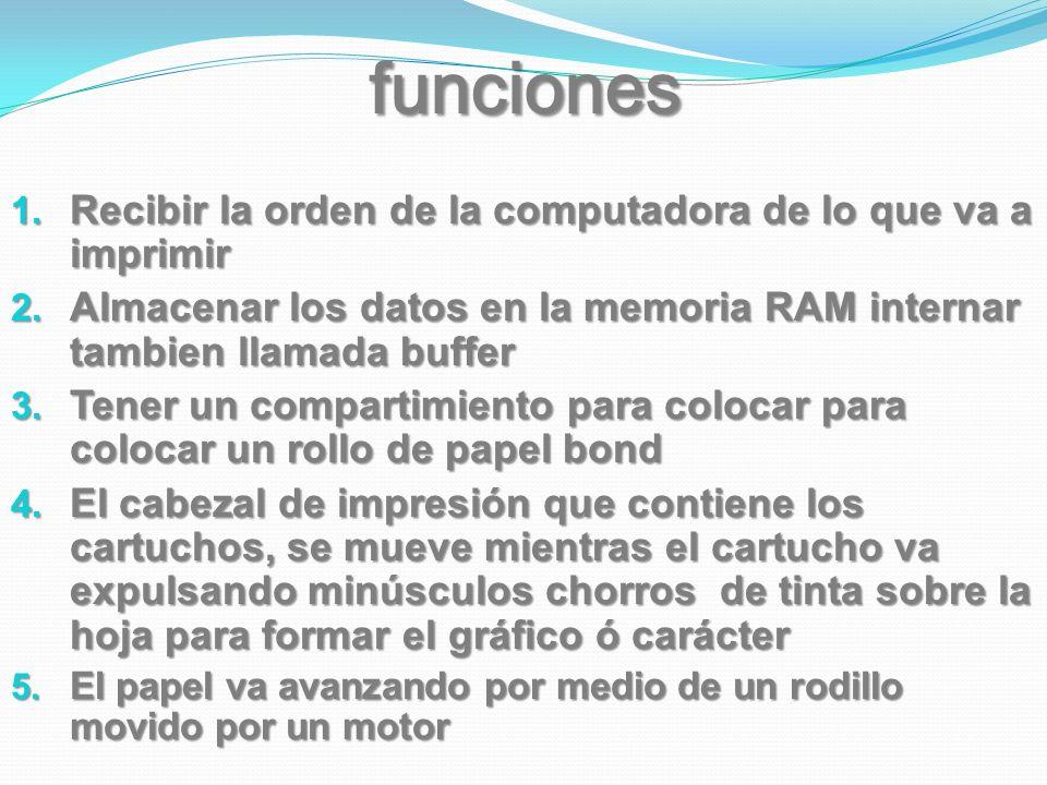 funciones Recibir la orden de la computadora de lo que va a imprimir Recibir la orden de la computadora de lo que va a imprimir Almacenar los datos en