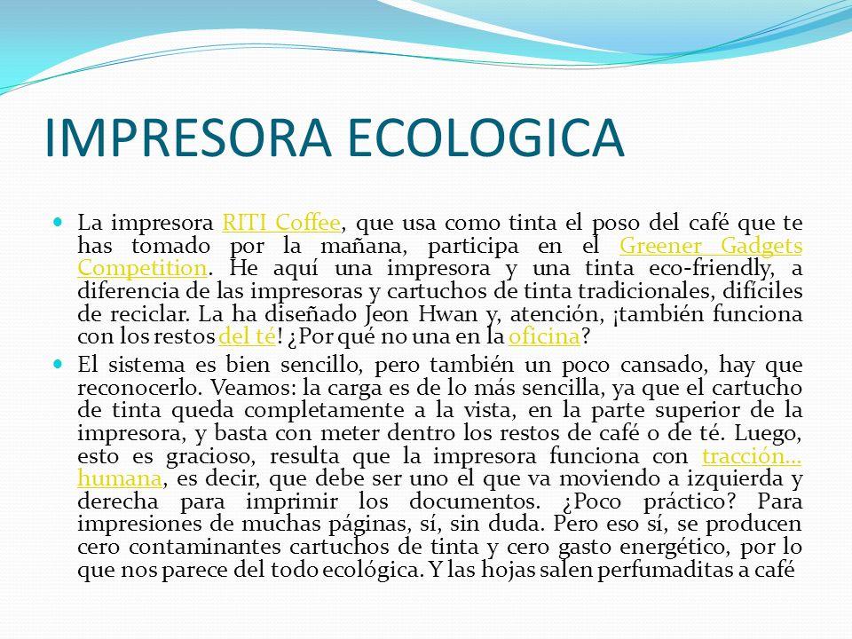 IMPRESORA ECOLOGICA La impresora RITI Coffee, que usa como tinta el poso del café que te has tomado por la mañana, participa en el Greener Gadgets Com