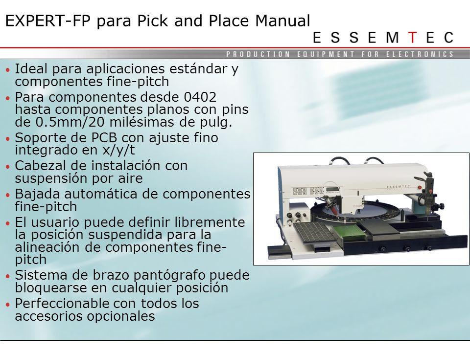 Ideal para aplicaciones estándar y componentes fine-pitch Para componentes desde 0402 hasta componentes planos con pins de 0.5mm/20 milésimas de pulg.