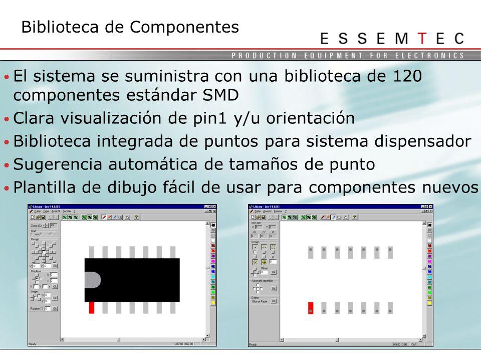 El sistema se suministra con una biblioteca de 120 componentes estándar SMD Clara visualización de pin1 y/u orientación Biblioteca integrada de puntos para sistema dispensador Sugerencia automática de tamaños de punto Plantilla de dibujo fácil de usar para componentes nuevos Biblioteca de Componentes