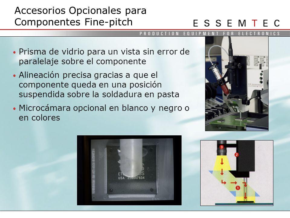 Prisma de vidrio para un vista sin error de paralelaje sobre el componente Alineación precisa gracias a que el componente queda en una posición suspendida sobre la soldadura en pasta Microcámara opcional en blanco y negro o en colores Accesorios Opcionales para Componentes Fine-pitch