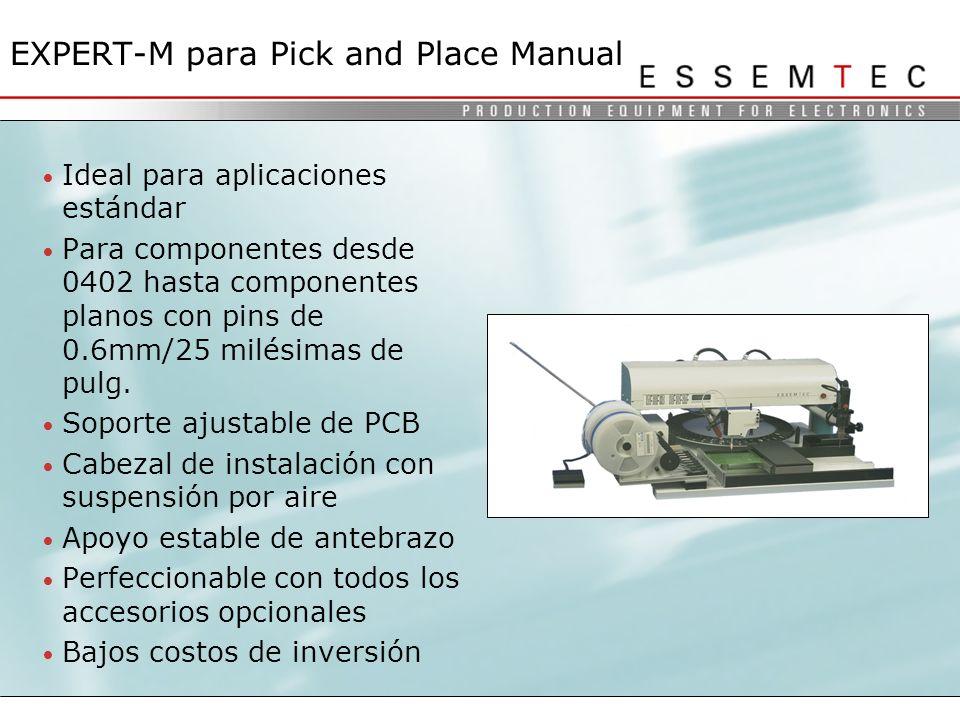 Ideal para aplicaciones estándar Para componentes desde 0402 hasta componentes planos con pins de 0.6mm/25 milésimas de pulg.