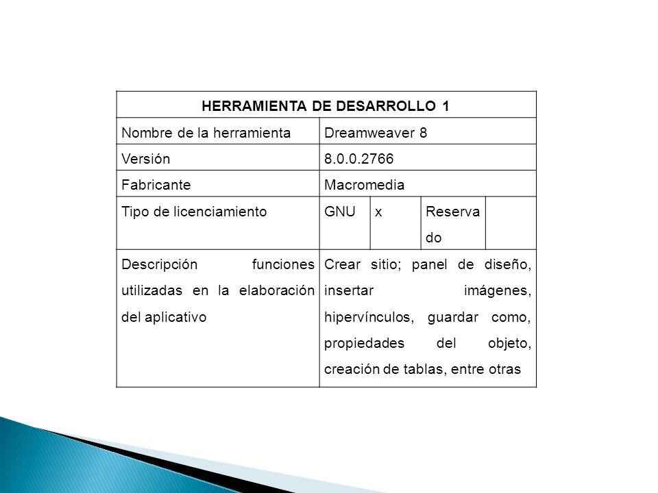 HERRAMIENTA DE DESARROLLO 1 Nombre de la herramientaDreamweaver 8 Versión8.0.0.2766 FabricanteMacromedia Tipo de licenciamientoGNUx Reserva do Descrip
