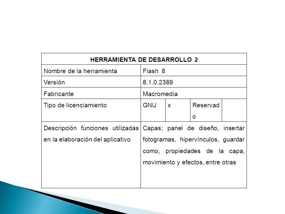 HERRAMIENTA DE DESARROLLO 2 Nombre de la herramientaFlash 8 Versión8.1.0.2389 FabricanteMacromedia Tipo de licenciamientoGNUx Reservad o Descripción f