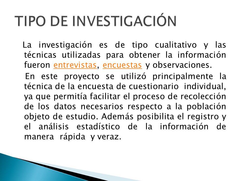 La investigación es de tipo cualitativo y las técnicas utilizadas para obtener la información fueron entrevistas, encuestas y observaciones.entrevista