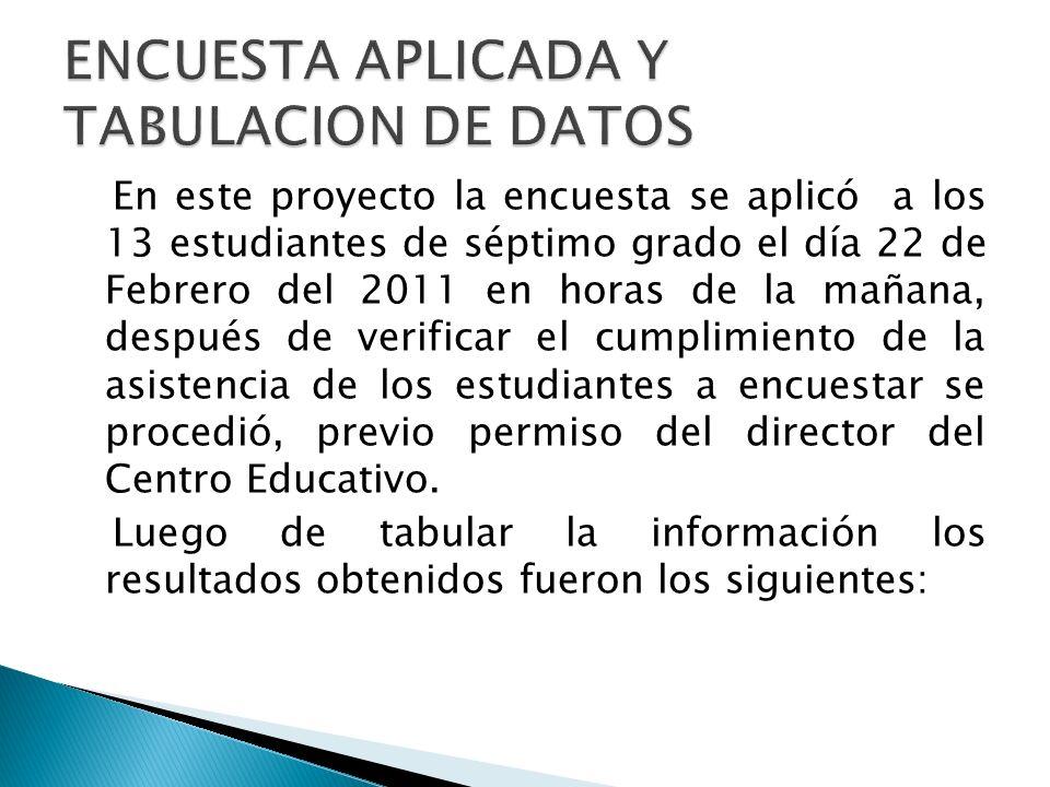 En este proyecto la encuesta se aplicó a los 13 estudiantes de séptimo grado el día 22 de Febrero del 2011 en horas de la mañana, después de verificar