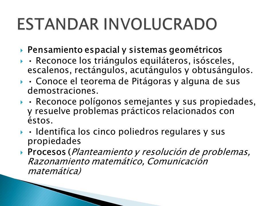 Pensamiento espacial y sistemas geométricos Reconoce los triángulos equiláteros, isósceles, escalenos, rectángulos, acutángulos y obtusángulos. Conoce