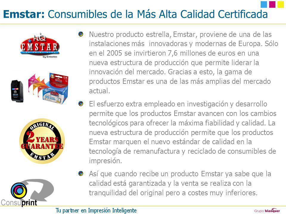 Emstar: Consumibles de la Más Alta Calidad Certificada Nuestro producto estrella, Emstar, proviene de una de las instalaciones más innovadoras y moder